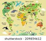 cartoon animal map of the world ... | Shutterstock . vector #209854612