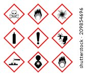 warning labels of chemicals  ... | Shutterstock .eps vector #209854696