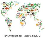 animal map of the world for... | Shutterstock . vector #209855272