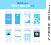 mobile app wireframe ui kit  5. ... | Shutterstock .eps vector #209856172