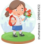 girl back to school after... | Shutterstock .eps vector #209856922