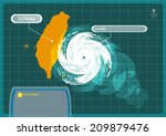 taiwan map with eye of typhoon  ... | Shutterstock .eps vector #209879476