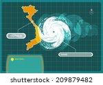 vietnam map with eye of typhoon ... | Shutterstock .eps vector #209879482