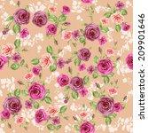 floral pattern on pastel peach... | Shutterstock . vector #209901646
