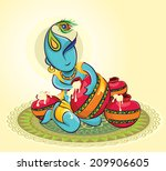 lord krishna with makhaan | Shutterstock .eps vector #209906605