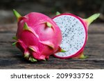 Dragon Fruit On Old Wooden...