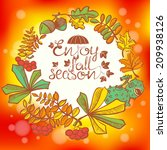fall season wreath with leaves   Shutterstock .eps vector #209938126