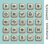 set of stone buttons  vector...