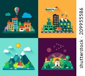color vector flat icon set and... | Shutterstock .eps vector #209955586
