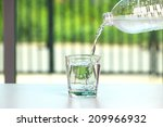 pouring water on glass  | Shutterstock . vector #209966932
