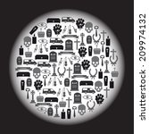 funeral icons set in circle... | Shutterstock .eps vector #209974132