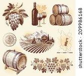 Hand Drawn Set   Wine And...
