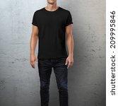 man wearing black t shirt....   Shutterstock . vector #209995846