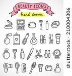 hand drawn beauty icons | Shutterstock .eps vector #210004306