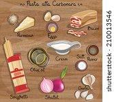 vector ingredients for pasta... | Shutterstock .eps vector #210013546