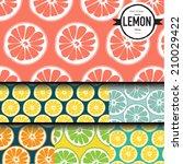 lemon pattern   vector | Shutterstock .eps vector #210029422