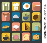 flat food icons  | Shutterstock .eps vector #210044416