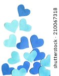 Group Of Blue Hearts Isolated...