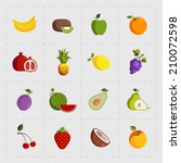 colorful fruit icon set on... | Shutterstock .eps vector #210072598