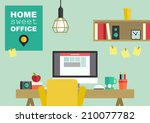 home office flat interior... | Shutterstock .eps vector #210077782