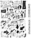 hand drawn doodle arrow... | Shutterstock . vector #210081445