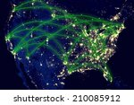 united states network night map ... | Shutterstock . vector #210085912