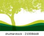 Vector Tree On A Grassy Hill