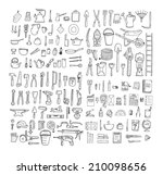 big household objects set.... | Shutterstock .eps vector #210098656
