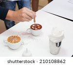 barista making a cup of... | Shutterstock . vector #210108862