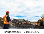 worker in lignite mine at north ... | Shutterstock . vector #210110272