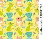 seamless pattern with cartoon... | Shutterstock .eps vector #210135226