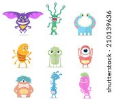 Vector Collection of Cartoon Cute Monsters - stock vector