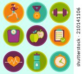 vector set of fitness icons and ... | Shutterstock .eps vector #210141106