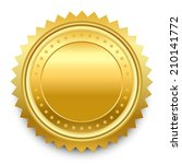 round golden medal with pattern ... | Shutterstock . vector #210141772