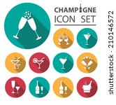 champagne icons set   Shutterstock .eps vector #210146572