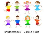 set of children of girls and... | Shutterstock .eps vector #210154105