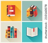 set of book icons in flat... | Shutterstock .eps vector #210160078