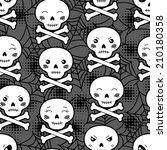 seamless halloween kawaii... | Shutterstock .eps vector #210180358