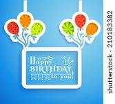 happy birthday retro postcard... | Shutterstock .eps vector #210183382