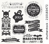 set of halloween decorative... | Shutterstock .eps vector #210183472