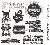 set of halloween decorative... | Shutterstock .eps vector #210183472
