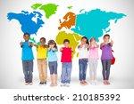 elementary pupils smiling... | Shutterstock . vector #210185392