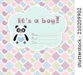 baby boy arrival card. baby... | Shutterstock .eps vector #210209902