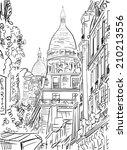 street in paris   illustration  | Shutterstock . vector #210213556