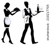 Silhouette Of The Waitress And...