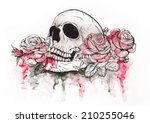skull and flowers vector...