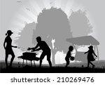 family picnic in the garden  | Shutterstock .eps vector #210269476