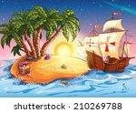 illustration of treasure island ...   Shutterstock .eps vector #210269788