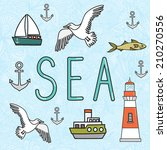 vector sea illustration with... | Shutterstock .eps vector #210270556