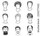 men with various hair style and ...